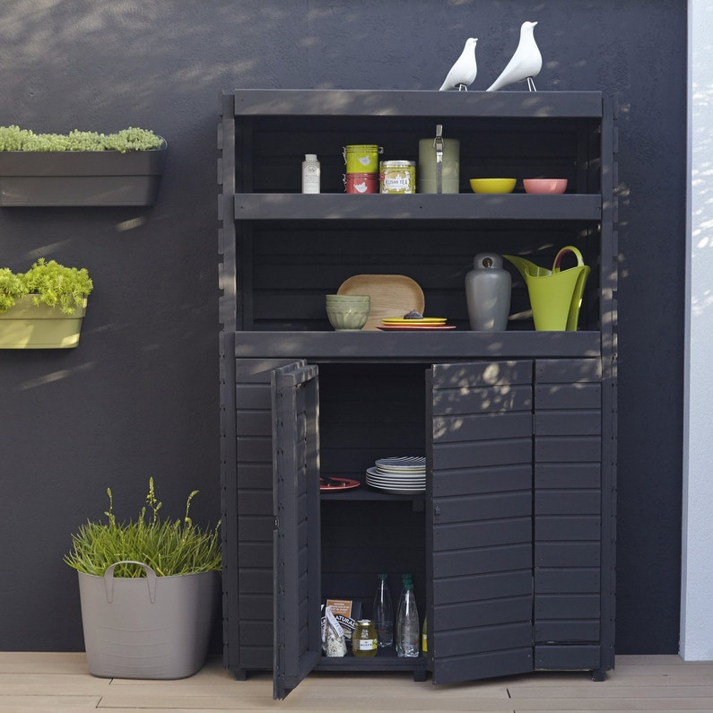 une armoire de rangement ext rieure gris anthracite leroy merlin. Black Bedroom Furniture Sets. Home Design Ideas