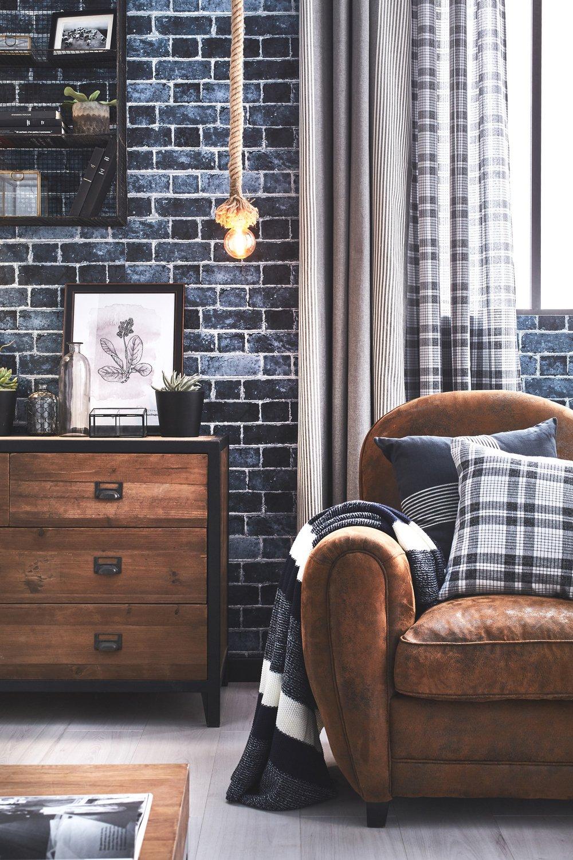 donner un style industriel avec un papier peint trompe l. Black Bedroom Furniture Sets. Home Design Ideas