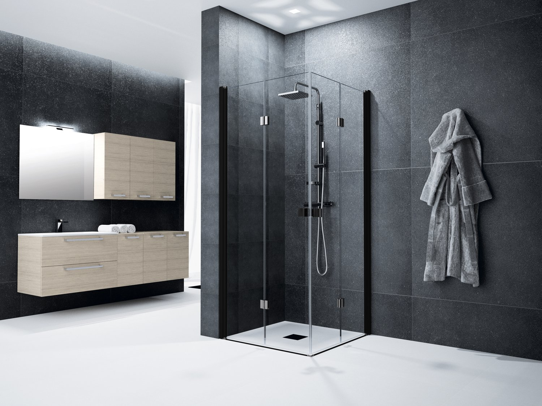 une salle de bain contemporaine gr ce sa n o paroi transparente leroy merlin. Black Bedroom Furniture Sets. Home Design Ideas