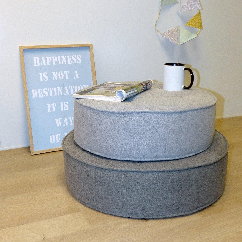 Pouf Effet feutrine, gris anthracite l.60 x H.16 cm | Leroy Merlin