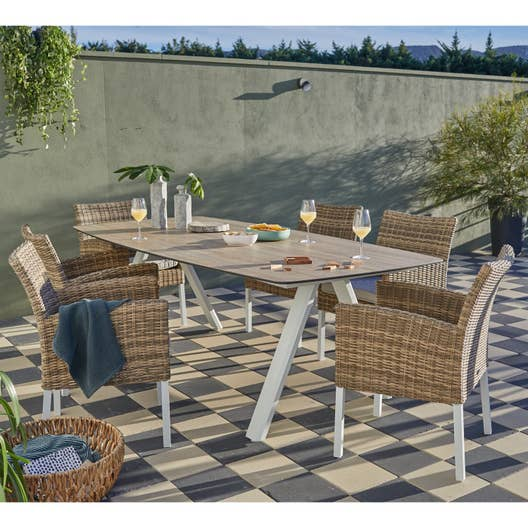 Salon de jardin Barcelone acier taupe, 6 personnes | Leroy Merlin