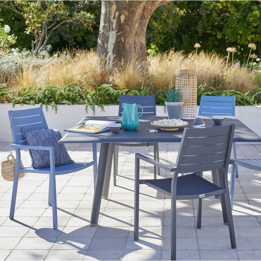salon de jardin sevilla aluminium gris 4 personnes leroy merlin. Black Bedroom Furniture Sets. Home Design Ideas