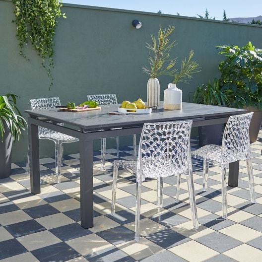 Salon de jardin Miami stone aluminium gris anthracite, 4 personnes ...