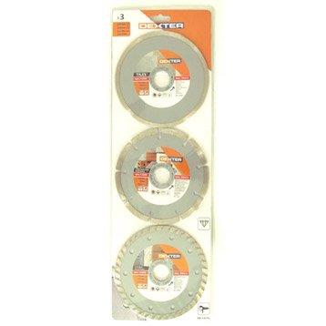 Lot 2 disques diamant plein à tronçonner pour matériaux DEXTER, Diam.125 mm