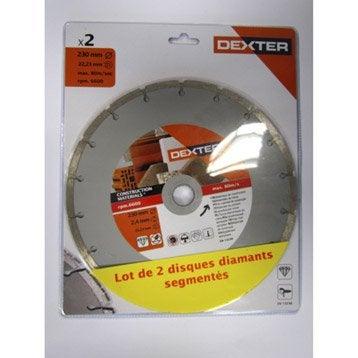 Lot 2 disques diamant segmenté à tronçonner pour matériaux DEXTER, Diam.230 mm