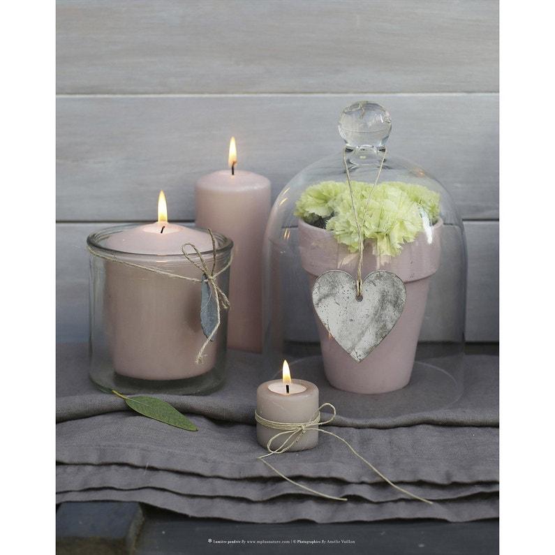 Toile Led Bougies Cloche Coeur Fleurs Blanches 40x50 Cm