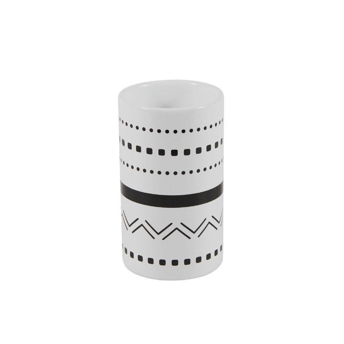 Gobelet céramique Ethnic, noir et blanc