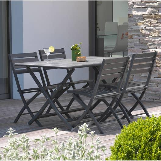 Salon de jardin marius aluminium gris anthracite 4 for Salon de jardin aluminium gris