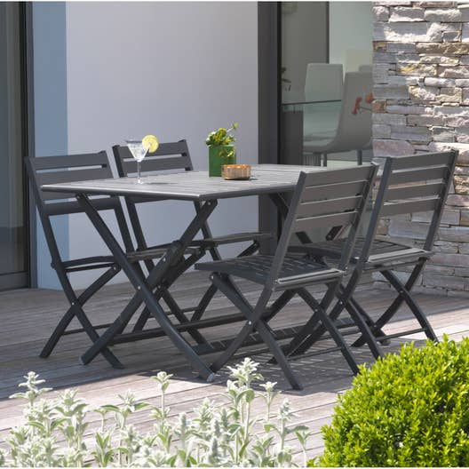 salon de jardin marius aluminium gris anthracite 4 personnes leroy merlin. Black Bedroom Furniture Sets. Home Design Ideas
