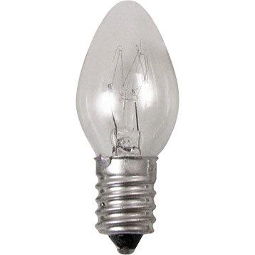 Lampe veilleuse E14 TIBELEC, verre, transparent 7 W