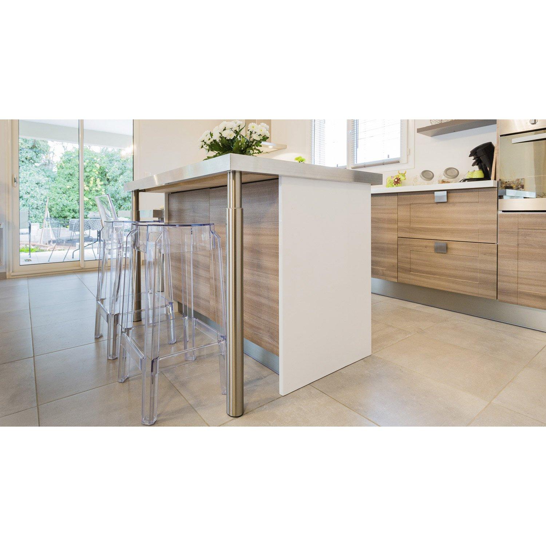 Pied De Plan De Travail Cylindrique Réglable Inox Brossé Gris De - Table de cuisine avec plan de travail