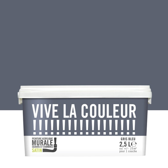 Peinture gris bleu satin VIVE LA COULEUR! 2.5 l   Leroy Merlin