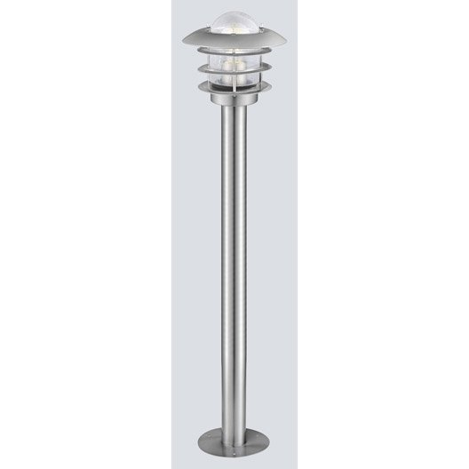 Potelet ext rieur mouna e27 60 w inox eglo leroy merlin for Potelet eclairage exterieur