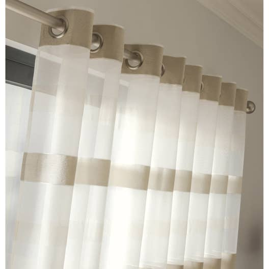 voilage tamisant edimbourg ivoire x cm. Black Bedroom Furniture Sets. Home Design Ideas