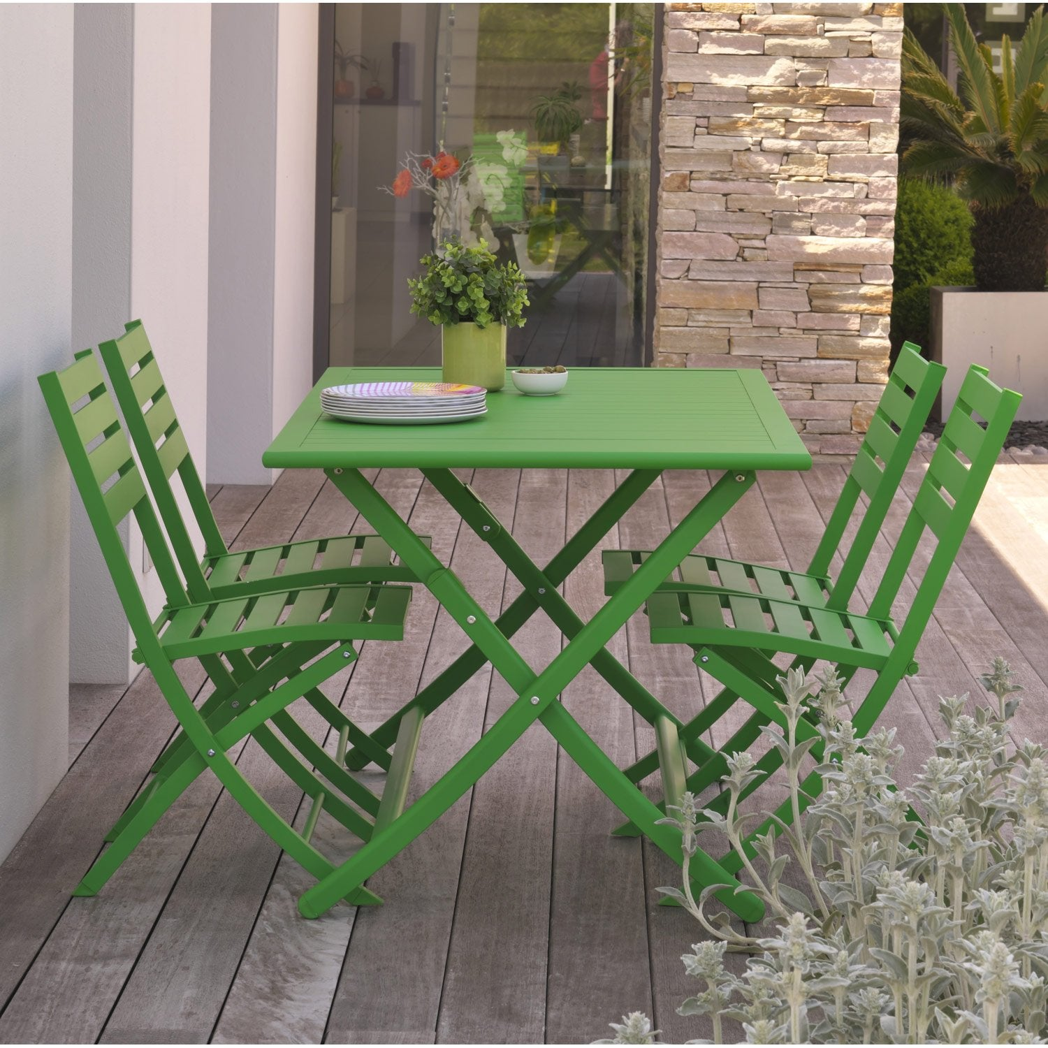 salon de jardin marius aluminium vert 4 personnes leroy. Black Bedroom Furniture Sets. Home Design Ideas