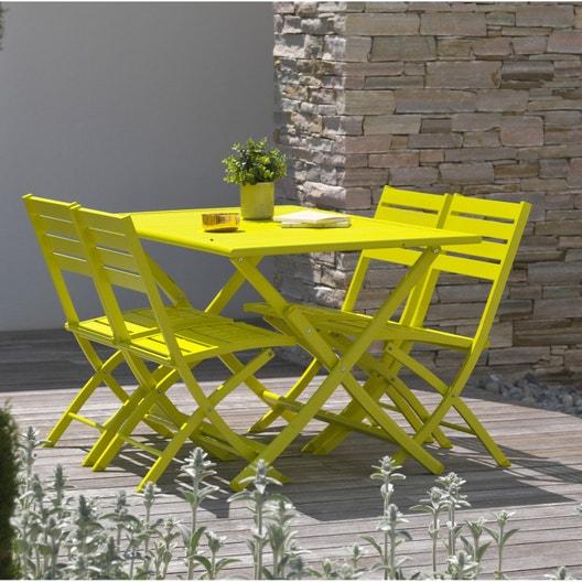 Salon de jardin Marius aluminium jaune, 4 personnes | Leroy Merlin