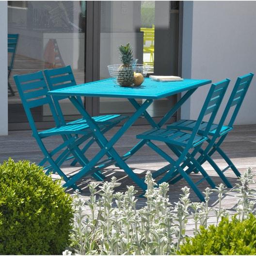 Salon de jardin Marius aluminium bleu, 4 personnes | Leroy Merlin
