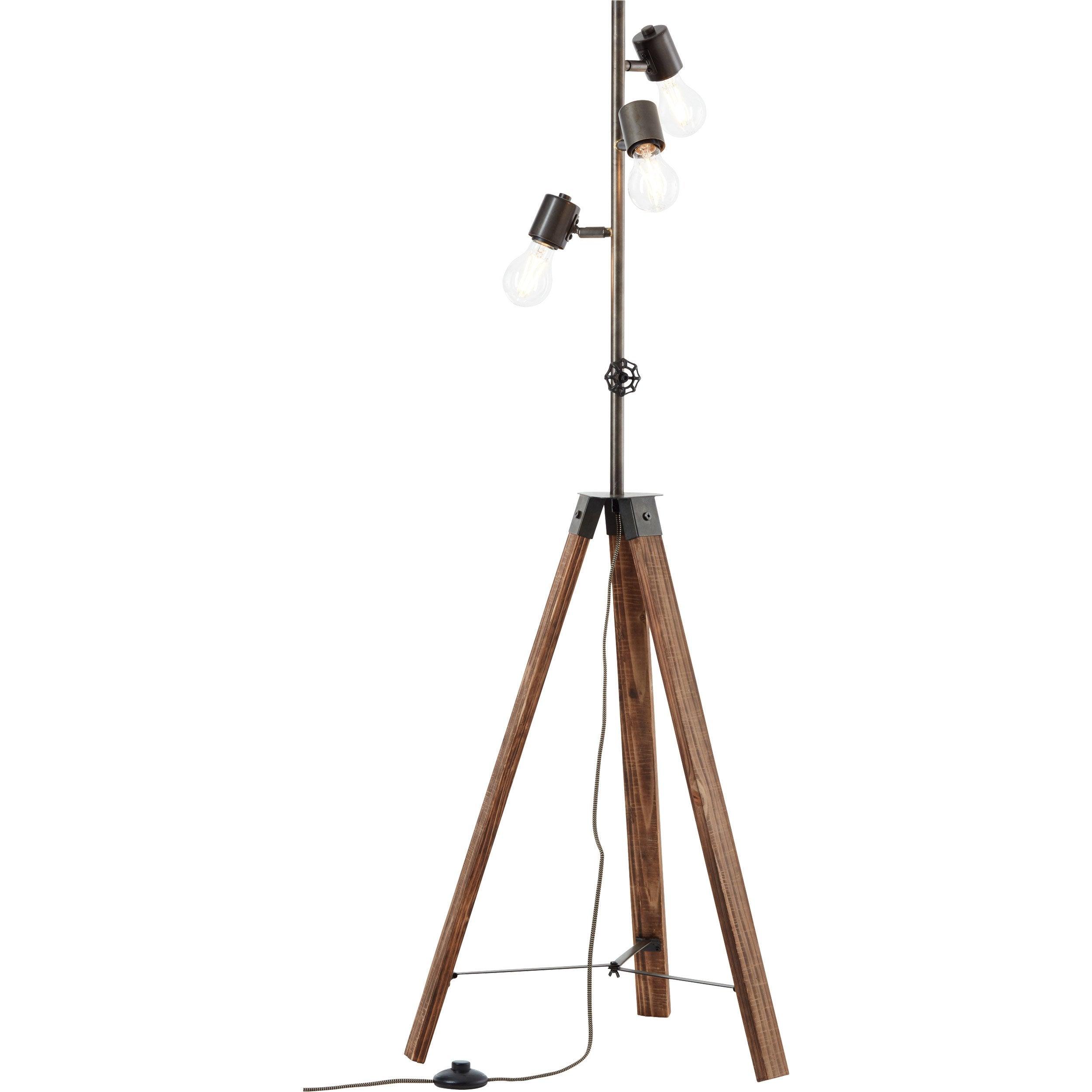 Lampadaire avec liseuse Woodhill , H.158 cm, 25 W