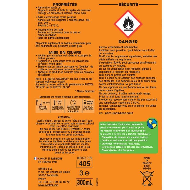 Protection Antirouille Extérieur Intérieur Rustol Owatrol Incolore 030 L