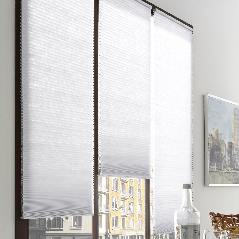 Store plissé polyester, blanc, l.45 x H.180 cm | Leroy Merlin