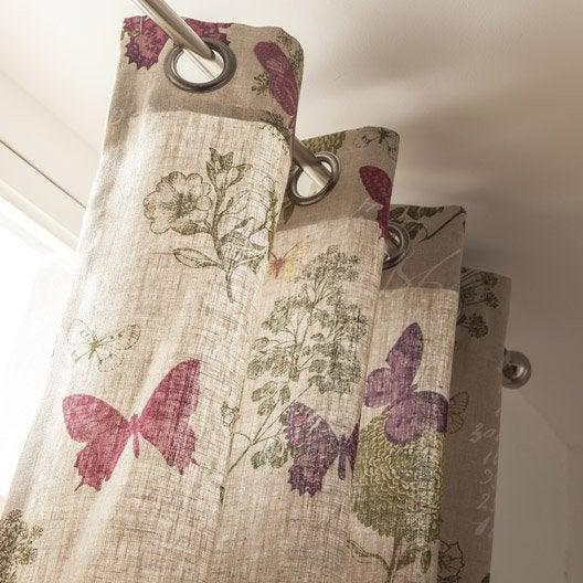 Rideau tamisant, Butterfly, naturel, l.135 x H.250 cm