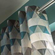 Rideau tamisant, Triangles, bleu pétrole, l.140 x H.260 cm