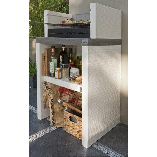 Barbecue en b ton blanc cass x x cm for Barbecue beton cellulaire exterieur