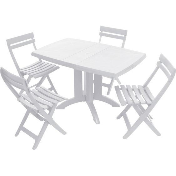Table de jardin GROSFILLEX Véga rectangulaire blanc 4 personnes ...
