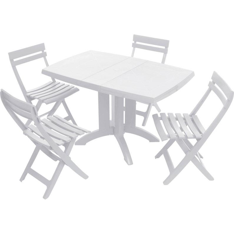 Table de jardin grosfillex v ga rectangulaire blanc 4 personnes leroy merlin - Salon de jardin grosfillex vega blanc ...