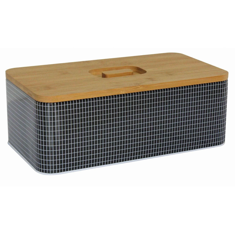 Boîte à pain métal noir blanc