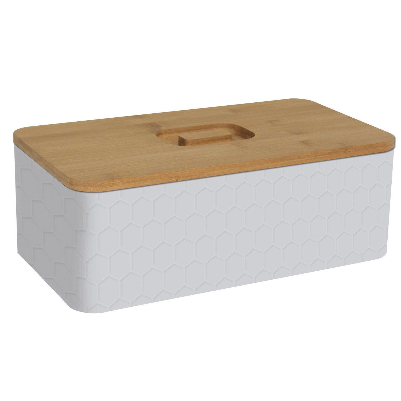 Boîte à pain métal blanc