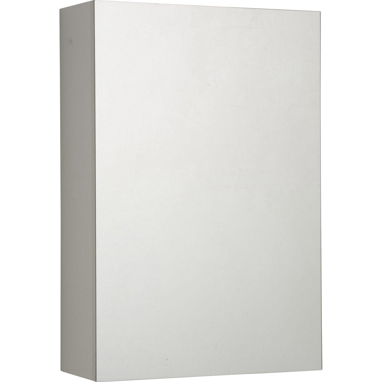 Armoire de toilette cm blanc porte miroir modulo for Miroir largeur 40 cm