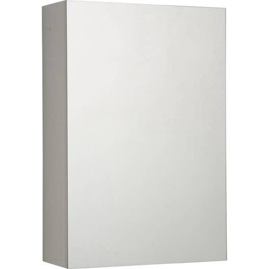 Armoire de toilette l.40 cm, blanc, porte miroir, Modulo | Leroy Merlin