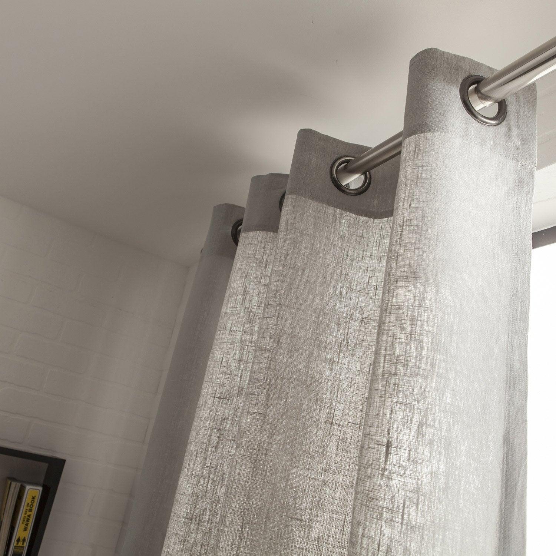 Rideau tamisant, Toile, gris perle, l.135 x H.250 cm | Leroy Merlin