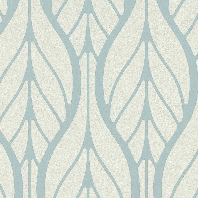 Papier Peint Intisse Feuille Art Deco Bleu Leroy Merlin