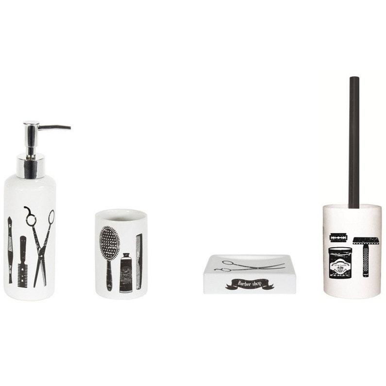 distributeur de savon c ramique barnabe noir noir 0 et blanc leroy merlin. Black Bedroom Furniture Sets. Home Design Ideas