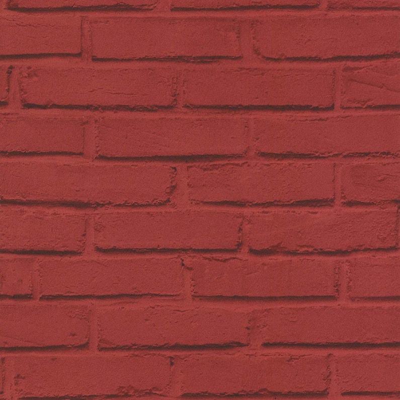 Papier Peint Papier Les Aventures Brique Loft Rouge