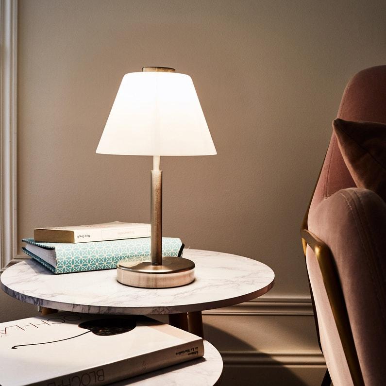 Lampe Tactile E14 Nil Touch Inspire Verre Blanc 40 W W