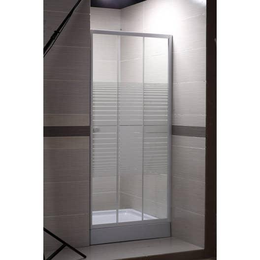 Porte de douche coulissante 100 cm, sérigraphié, Primo   Leroy Merlin