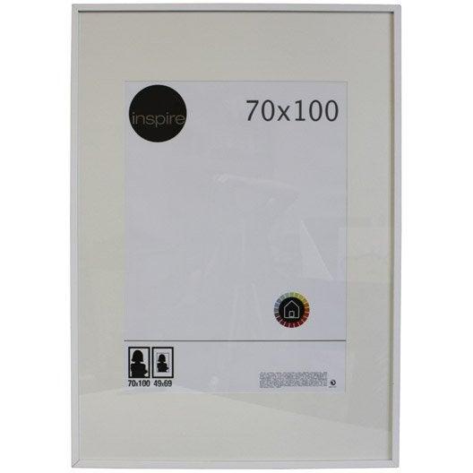 Cadre lario 70 x 100 cm blanc blanc n 0 leroy merlin for Miroir 70x100