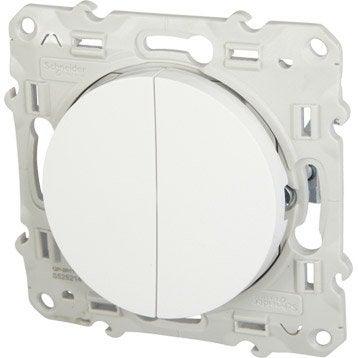 Double interrupteur va-et-vient Odace, SCHNEIDER ELECTRIC, blanc