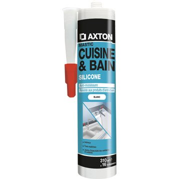 Mastic d'étanchéité AXTON cuisine et bain 310 ml blanc