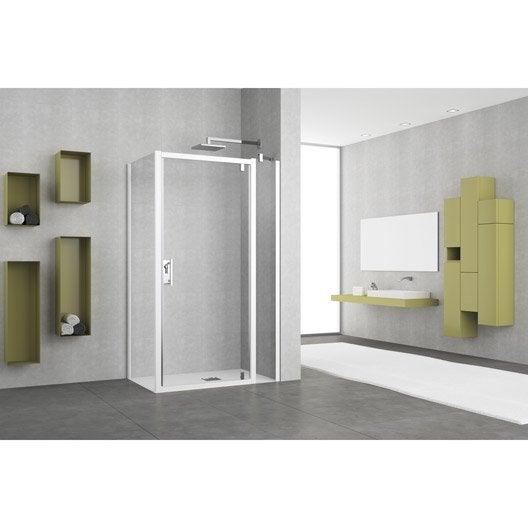 porte de douche pivotante 72 78 cm profil blanc elyt leroy merlin. Black Bedroom Furniture Sets. Home Design Ideas