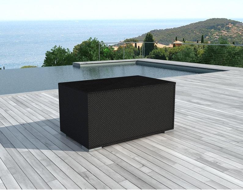 Coffre de jardin résine Box-black noir, l.132 x H.63 x P.81 cm ...