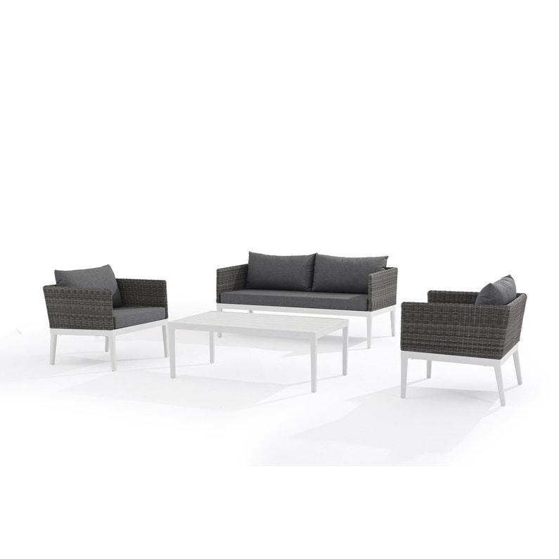 Salon bas de jardin Delorm cap ferret d003 aluminium gris, 4 personnes