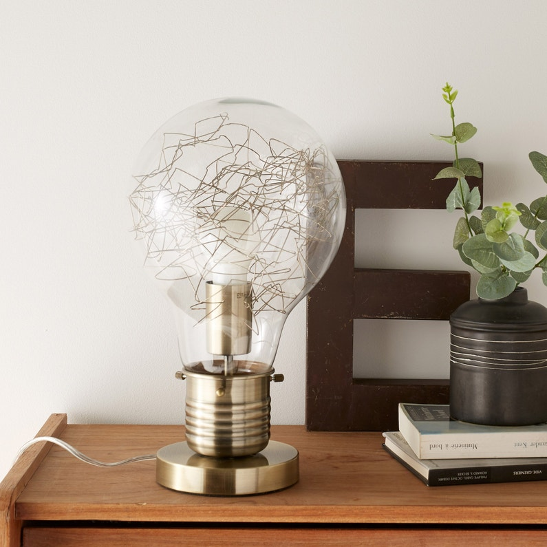 Lampe Vintage Verre Laiton Inspire Bombilla