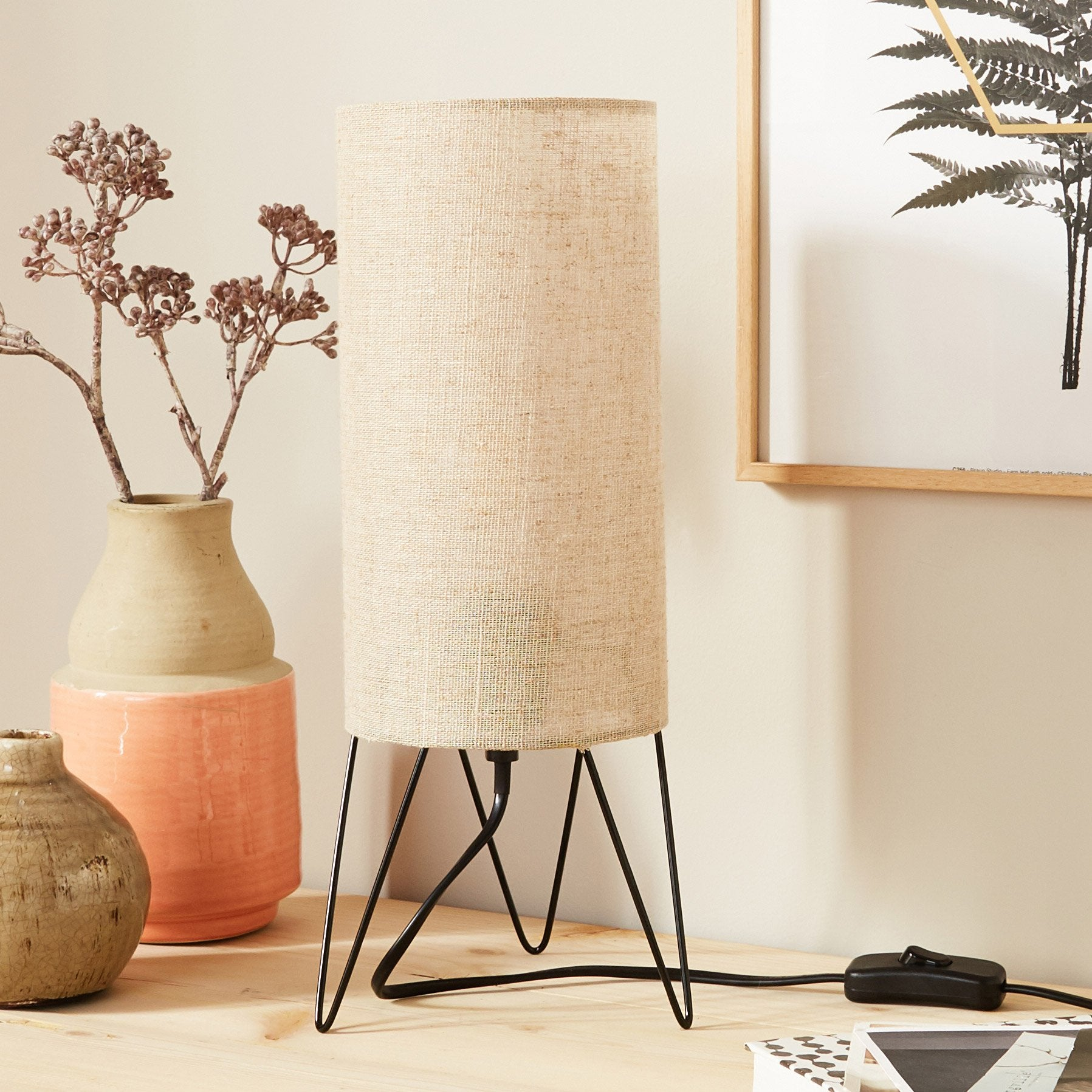 Lampe, moderne, métal jaune, INSPIRE Savanah 37 cm