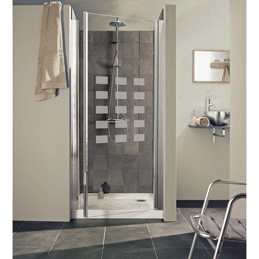 Porte de douche pivotante 87 91 cm profil chrom hekla - Douche exterieure leroy merlin ...