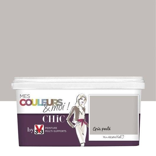 peinture gris perlé v33 mes couleurs et moi chic 2.5 l | leroy merlin - Peinture Salle De Bain Gris Perle