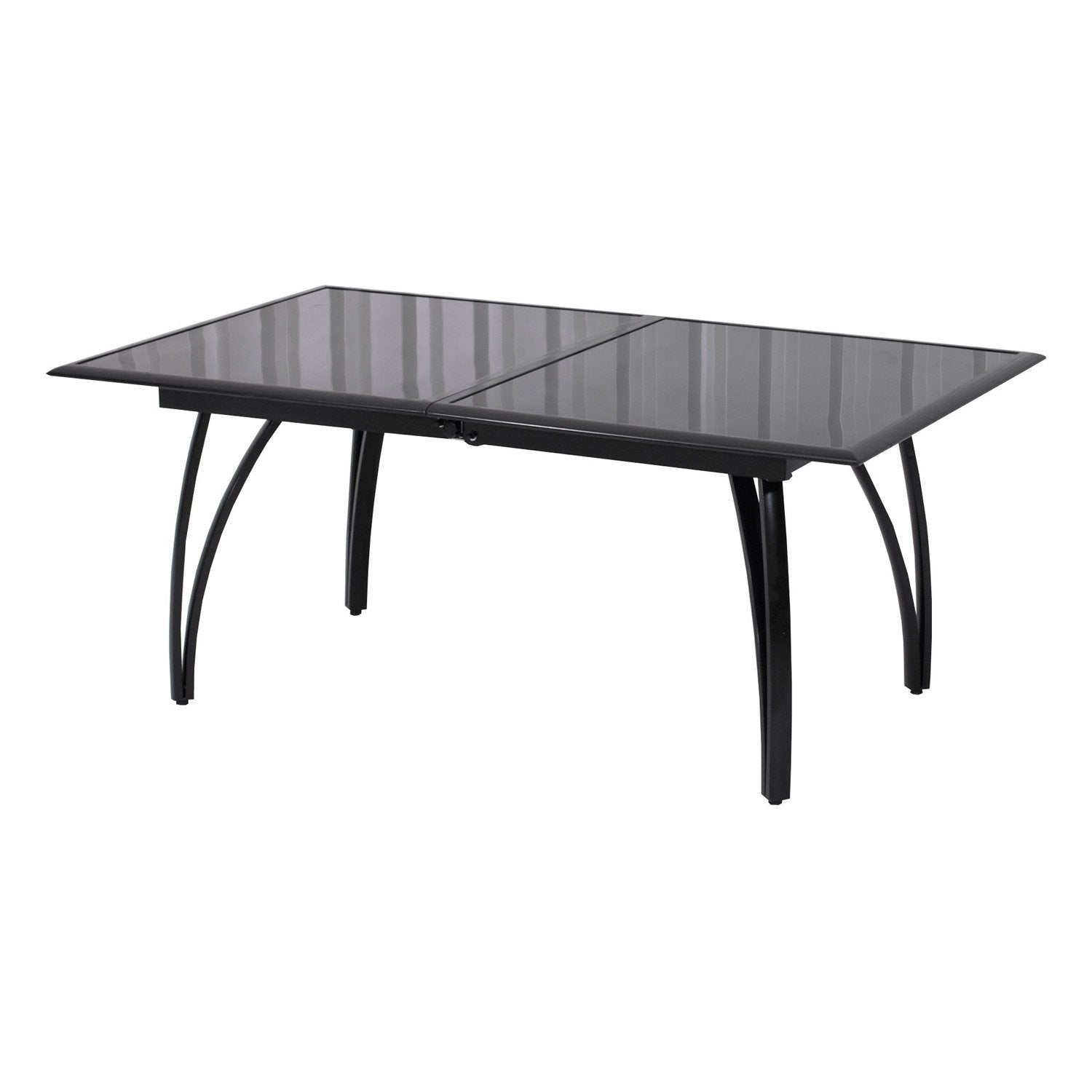 table de jardin rectangulaire noir 10 personnes leroy merlin. Black Bedroom Furniture Sets. Home Design Ideas